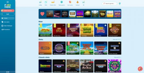 PlayFrank Online Slots Selection