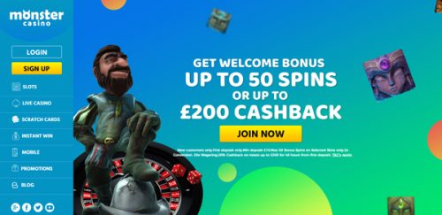 Monstercasino.com welcome offer UK