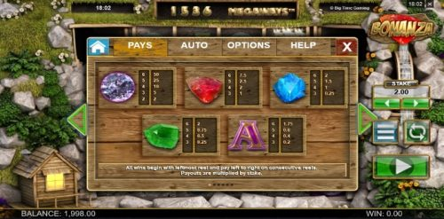 Win cash and have fun by playing the Bonanza slot game from Megaways