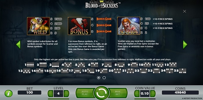 Play Blood Suckers from Netent at UK slot sites