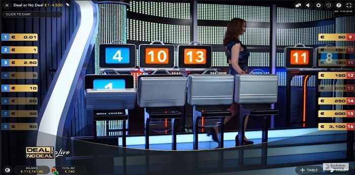 Deal or No Deal Live game screen