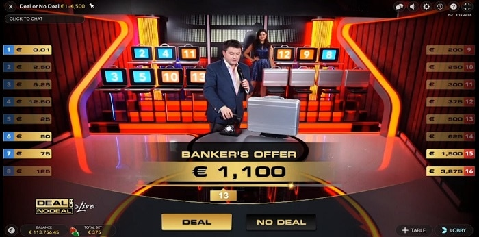 Deal or No Deal Live game win